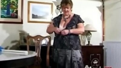 Lovely BBW Granny With round Huge natural Tits disrobetaunt And flashing