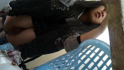Cute Chinese chick plays with his pee