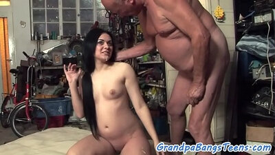 Awesome Teen Get Slammed By Her Grandpa