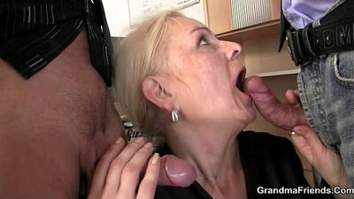 Curvy mature patient swallows a cock