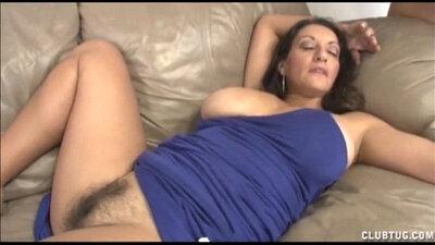 Busty MILF Christy River enjoys rubbing her wet pussy on a huge dick