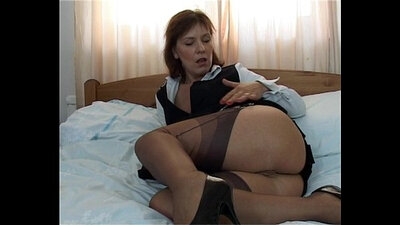 Hot MILF in stockings rides her schoolboy friend