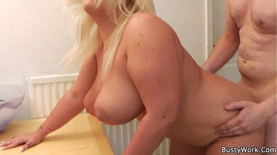 bbw blonde sets up shop on the table for cash