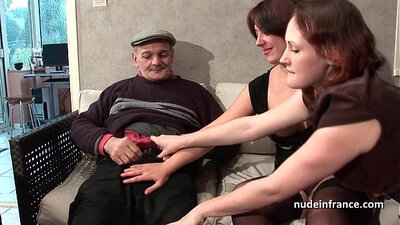 Two brunette french girls sharing a cock so long