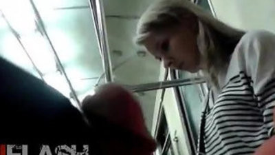 Flash cum for blondee fledgling teen public train