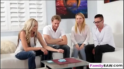 Family WorkingTime Strip Changing Foursome