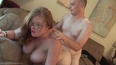 Chubby chick playing around with big tits gets her pussy fucked really hard