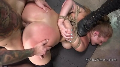 Ass slave with large boobs and inside tights fucked