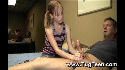 Petite black Katie Cassidy gives a handjob