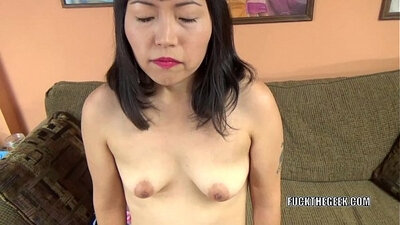 Asian slut tugging in hotel