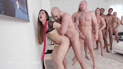 Asian Slut May Thai Gets Facialized in gang fuck