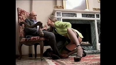 Angela temptress iraiza wears a fishnet stockings and high heels and fucks cock