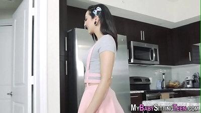 Latina babysitter in hot massage