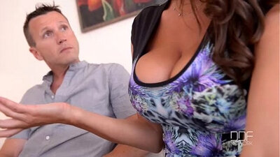 big titty girl is with her husband uncut, in a hot threesome on sofa