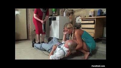 blonde granny rides grandpa cock in hotel