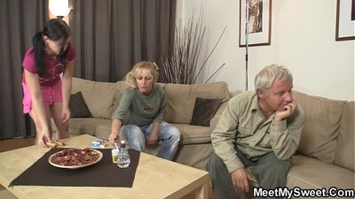 Stepdaughter fucked in thigh slut act