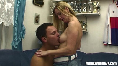 Hot young blonde stepmom fucks the security guard