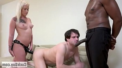 Layla and her sissy boy double teams a big black dick
