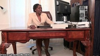 Office grannies Amanda and Penny disrobe off and play