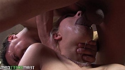 stunning Cindy Crawford gags on a fat cock