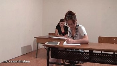 French studentranssexual hard anal fucked and knuckleed in FFM threesome in classroom