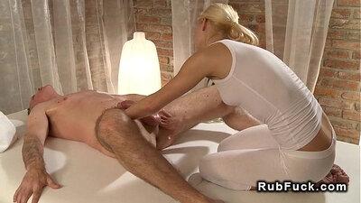 Blonde Hottie Beauty Massages Man for Nerd Cock