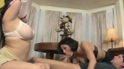 Step family babes go down on dude