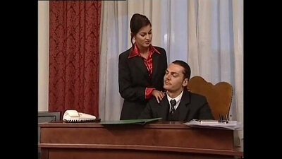 Bright beige minidress fucks the boss hard in his office