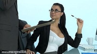 Sexy mummy Jasmine Jae plays the office fuckslut junkieed to hard black cock