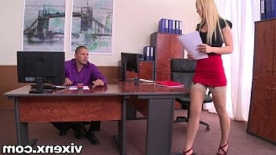 Sexy blonde Vanda Lust in stockings office footjob and sex