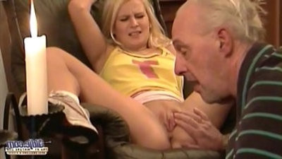 Old man forcing young ash blondee to sex