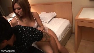 Two big titted Japanese dolls fuck horny dude in a motel room