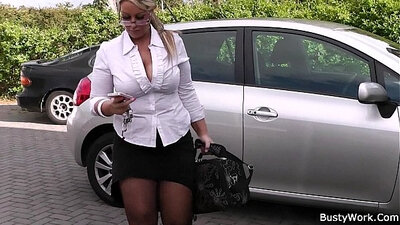 blonde with fat tits and long legs is spreading her twat wide
