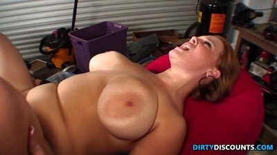 Babe with big jugs receives rapping on her hairy snatch