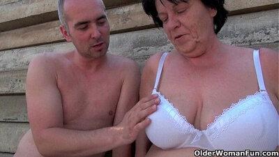 Big tit mature Mommy Candace masturbates for bbc outdoors