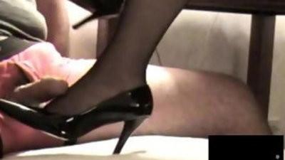 Black stocking footjob with cumshot