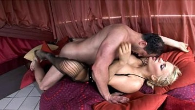 chesty Britney fucked in stockings and high heeled slippers