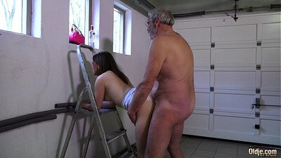 bowl of persimmons gets blown by grandpas big cock