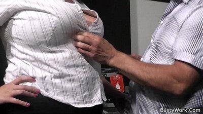 bbw secretary drooling on cock