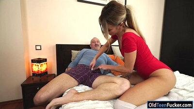 Hot Ashlyn cant wait to get russian pussy fucked by Crawfords grandpas