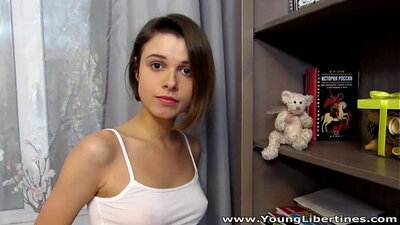 Slippery cum for very tiny young teen