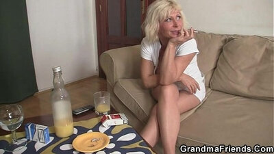 Granny sucks cock and swallow