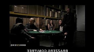Horny wifey in underwear fucks to pay hubbys poker debt
