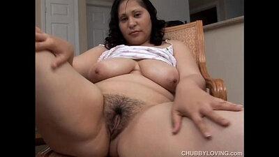 busty brunette bushy pussy fucks her fat tongue