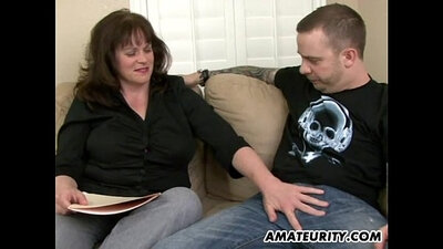 Busty amateur milf getting fucked by young man