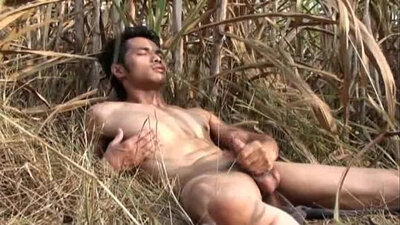 Asian model screaming outdoors