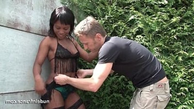 Young black dick in slut anal fucked really hard outdoor with her sexy lingerie