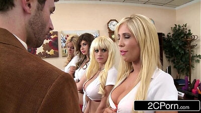 Bridget May and Tasha Reign go down on John