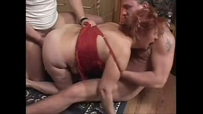 Chubby granny instructing the man to take care