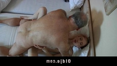 Old pervert man fucked by a horny maid